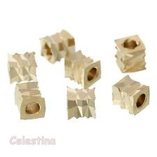 20 Light Gold Seed Beads - Copper Bead Spacers - Crinkle Cubes - Square Beads