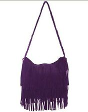 Women Faux Suede Leather Tassel Fringe Cross Body Shoulder Handbag Messenger Bag