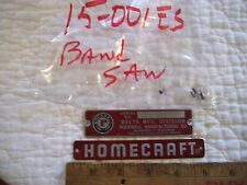 """Name and Serial Number Plates or Badge from Vintage 10"""" Delta Homecraft Band Saw"""
