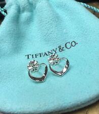 Tiffany & Co Elsa Peretti Sterling Silver Open Heart Earrings