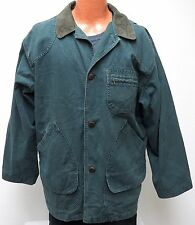 vtg LL Bean HUNTER GREEN CANVAS Barn Coat LARGE 90s western work chore R641 L