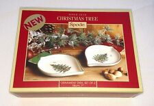 """NEW Set of SPODE Christmas Tree Ornament Dishes Made in England 7"""" Portmeirion"""