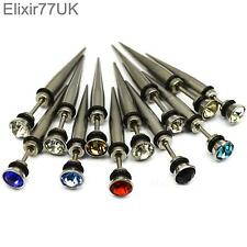 WHOLESALE STAINLESS STEEL SPIKE EAR STUD EARRINGS FAKE PLUG PUNK ROCK GOTHIC EMO