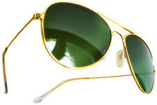 TOP QUALITY NEW AVIATOR CLASSIC REAL GLASS GREEN LENS SUNGLASSES GOLD FRAMES
