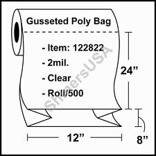 """2 mil Gusseted Plastic Poly Bag 12""""x8""""x24"""" Clear - RL/500 (122822)"""