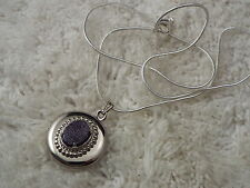 Blue Goldtstone Round Locket Pendant Silvertone Necklace (D76)
