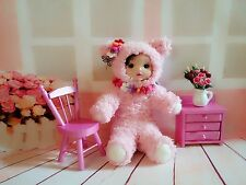 """OOAK 6"""" Furry Cat Costume Doll Clay Face Needle Felted w/ Furniture by Scuznyuki"""
