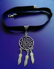 Dreamcatcher Tibetan silver black velvet choker necklace goth steampunk kitsch 2