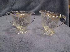 Vintage Glass/Cut Crystal - Open Cream and Sugar Set  Footed