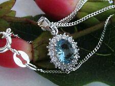 Collier echt 925 Silber Anhänger Hellblau Aquamarin Zirkonia mit Kette Halskette