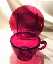 1 ANCHOR HOCKING ROYAL RUBY CUP AND SAUCER, EXCELLENT CONDITION