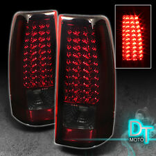 99-02 Gmc Sierra Chevy Silverado Led Tail Brake Lights Left+Right Red Smoked