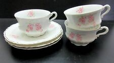 6pc CUP & SAUCER by C T Tielsch Altwasser Germany 21235 PINK ROSE Scalloped Gold