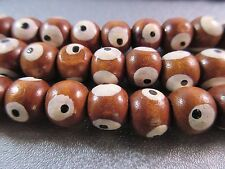 Chocolate Painted Wood Evil Eye Beads 46pcs
