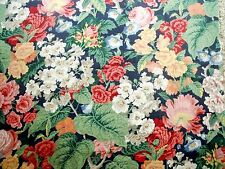 New P Kaufmann Multi-Color Floral Design Scotchgard Home Decor Blue Fabric BTY
