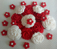 BRIGHT RED/WHITE EDIBLE FLOWERS Sugar decoration cake topper cupcakes