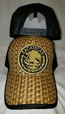 ZACATECAS  MEXICO HAT LOGO FEDERAL GORRA PALMA TRUCKER KHAKI BROWN BLACK
