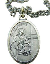 "St Aloysius Saint Medal 3/4""L Pendant with Stainless Steel Chain from Italy"