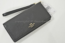 NWT Coach 53717 Pebbled Leather Slim Wallet in Black