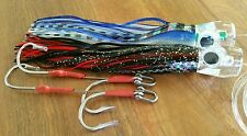 "Marlin,Tuna,wahoo,dolphin fish 11"" Big game lures concave head w/double hook rig"