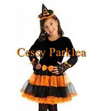 Sweet Orange Stardust Witch Kids Costume Tutu Hat Gloves Girl Year 3-7 S-L