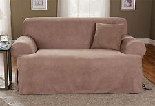 Sure Fit Sofa Slipcover Soft Suede T-Style Cushion Tan/Taupe