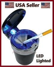 Black/Silver Cars Portable Blue LED lighted Ashtray Cup Holder Cigarette Ash Can