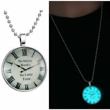 Vintage Clock Cherish Time Glow In Dark Pendant Necklace Womens Sweater Chain