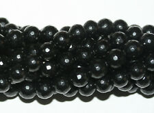 AAA Natural Genuine  Black Jet Faceted  Round Beads 6mm