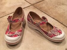 Dansko Vegan Valerie Mary Jane Shoes Pink Floral Canvas Size 37/6.5-7