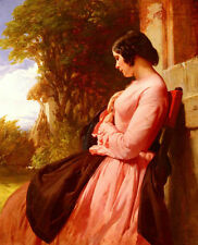 Charming Oil painting beautiful young woman sitting in the morning Hand painted