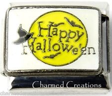 Happy Halloween Witch Hat Moon And Bats 9mm Italian Charm Stainless Steel Link