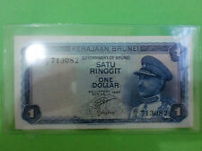 Brunei $1 1967 (aUNC) Government Of Brunei A/3  713082 (RARE)