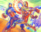 ALEX ROSS rare CAP & IRON MAN battle NEW giclee CANVAS Kirby SIGNED w/ COA
