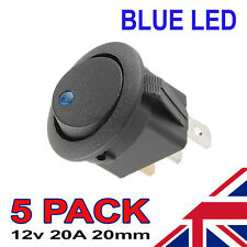 5 x Blue LED On/Off Black Round Rocker Switch Car Automotive 20mm SPST Boat Dash