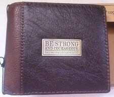 Men's Christian Strong Courageous GENUINE LEATHER BROWN Bi-fold WALLET IMPERFECT