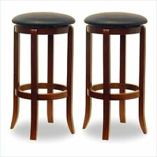 "30"" Swivel Bar Stools Bar Height Without Arms With Swivel In Walnut (Set Of 2)"