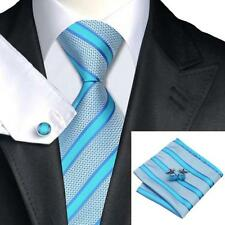 Nouveau design italien turquoise/argent rayures silk tie, hanky et boutons de manchette