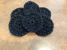 Scrubbies pot scrubber nylon set of 5  handmade by me  in the USA crochet  Black