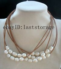 """5strands freshwater pearl egg &brown line necklace 18"""""""