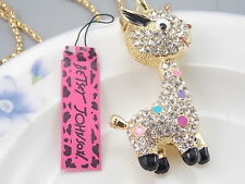 Betsey Johnson Fashion Jewelry Cute Crystal cartoon giraffe Pendant Necklace