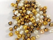100 Austrian Crystal Glass Bicone Beads And Pearls - Gold / metallic Mix - 4mm
