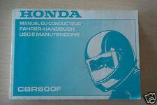 00X37-MV9-8100 Manuale Uso e Manutenzione Honda CBR600F