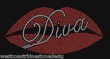 Big Lips Diva Rhinestone Iron on Transfer                    0W30