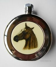 Equestrian Horsey Head 5ozs silver plated and chrome hip flask Racing Luxury Box