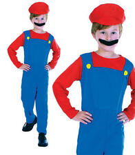 Childrens Kids Plumber Boy Fancy Dress Costume Mario Brothers Childs Outfit L