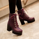 Korea Women's High Heels Chunky Platform Lace Up Riding Gothic Ankle Boots Shoes