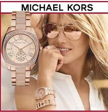 NWT MICHAEL KORS Bryn Pink & Rose Gold Swarovski Crystal Glitz Watch MK6135 $295
