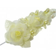 "3 yellow Silk Pearl & organza flower  Corsages 5""x 2.5 with pearl pin"