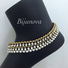 NEW STUNNING PAYAL ANKLET ANKLE CHAIN INDIAN BOLLYWOOD COSTUME JEWELLERY